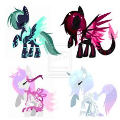 Mystic lights, Magenta shine, Summer Dreams, and Night cloud Mlp Adoption, Types Of Horses, Mlp My Little Pony, Wisteria, Game Art, Red Velvet, Character Design, Cute Animals, Artsy