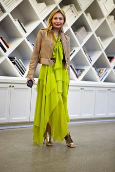 Color, metallics and texture in a chartreuse BCBGMAXAZRIA dress with a leather jacket and a metallic heel.