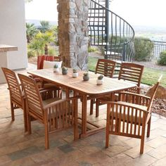 Outdoor-Patio-Dining-Set-7-Piece-Acacia-Wood-Furniture-Deck-Table-Chairs-Garden