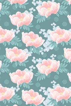 Peonies on green by innamoreva. Hand painted peonies on a teal background on fabric, wallpaper, and gift wrap. Beautiful pink, teal, blue, and green flower painting in a painterly feel. #floral #painting #flowers #design #surfacedesign #homedecor #interior