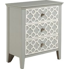Featuring a quatrefoil overlay, brushed nickel hardware, and a cool grey finish, this refined accent brings distinctive style to your living room or master s...