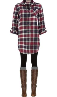 Long plaid boyfriend shirt, leggings, knee socks and boots.
