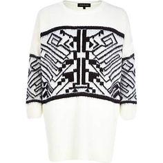 Cream geometric print fluffy jumper dress €60.00