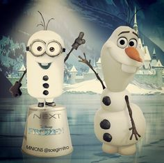 I'm about to die, two of my favorite things in one picture!! Olaf and a Minion!! :D