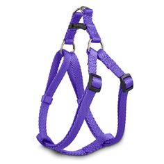 Durable nylon harness has an easy step-in design that make putting it on your dog hassle free. Plastic slides allow a custom fit every time.