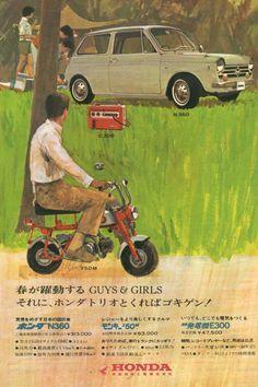 Honda Monkey Bike ad - Old Mini-Bikes Classic Honda Motorcycles, Vintage Motorcycles, Vintage Motocross, Vintage Bikes, Vintage Ads, Vintage Trends, Vintage Graphic, Vintage Photos, Womens Motorcycle Helmets