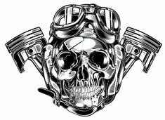 Skull & Pistons - Harley Davidson by David Vicente