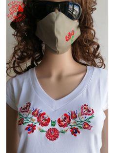 Szervető-matyó szájmaszk - bézs T Shirts For Women, Tops, Fashion, Moda, Fashion Styles, Fashion Illustrations