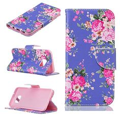 Samsung Galaxy S7 Edge Case [With Tempered Glass Screen Protector],Fatcatparadise(TM) Anti Scratch Flip Soft Silicone Back Cover Case ,Stylish Printed Cute Colorful Pattern Magnetic Detachable Premium PU Leather Folio Book stytle Credit Card Holder [with Lanyard Strap/Rope] Wallet Embedded Case Cove