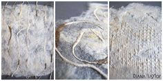 Hand made silk paper with embossed crocheted edgings and silk yarns by Velvet Moth Studio