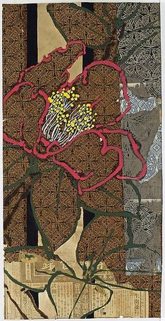 Robert Kushner, O Camellia Cousin of Tea, Brown Byobu, 2014 Oil, acrylic, gold leaf, and collage on paper, 36 x 18 inches