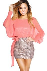 Coral Pink and Gold Sequins Cut-Out Sleeve Mini Dress