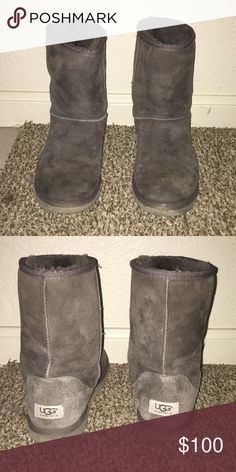 Classic Short Uggs (Grey) In great condition although slightly worn UGG Shoes Ankle Boots & Booties