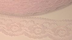 5 yards Pale Pink Flat Lace Trim 1 1/4 wide by ContinuousThreads, $3.00