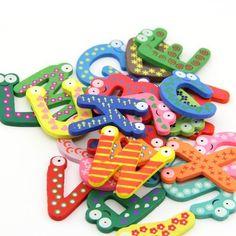 Kids toys colorful wooden refrigerator magnet alphabet A-Z Letters 26pcs, http://www.amazon.com/dp/B00HVQUX2Q/ref=cm_sw_r_pi_awdm_k-zRtb077T2BG