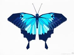 Butterfly, Blue Butterfly, Ulysses Swallowtail, Geometric illustration, Bird and animal prints, Original illustrations