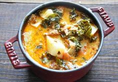Delicious Sausage Soup. Crockpot recipe with kale. Hated it as a child, but I think I will love it in this.