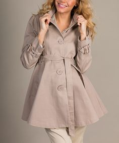 Another great find on #zulily! Beige Maternity Trench Coat by Mom2moM #zulilyfinds