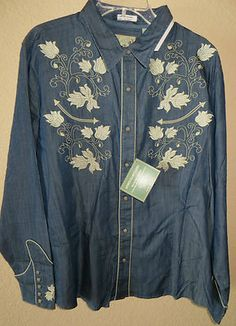 ROPER COWGIRL EMBROIDERY WESTERN SHIRT LIGHT TWILL DENIM SIZE 2X NEW WITH TAGS CHECK THIS GREAT TOP OUT AND OTHER COWGIRL BLING & WESTERN WEAR AT MY EBAY STORE! BAHA RANCH WESTERN WEAR ebay seller  SOLOEDITION