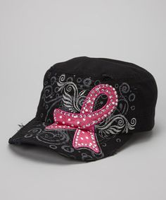 Take a look at this Black Rhinestone Pink Ribbon Cadet Cap by Rhinestone Junkie on #zulily today!