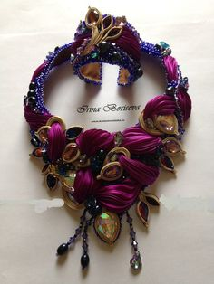 Elegancy Shibory / Элегантность Шибори Ribbon Necklace, Soutache Necklace, Ribbon Jewelry, Silk Ribbon Embroidery, Ribbon Embroidery Tutorial, Fabric Beads, Shibori, Textile Jewelry, Fabric Jewelry