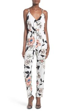 Main Image - Leith Strappy Floral Print Jumpsuit