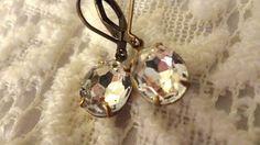 Diamond Rhinestone Earrings Downton Abbey by BerthaLouiseDesigns