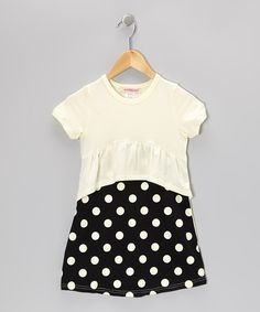 Take a look at this Yellow & Black Polka Dot Peplum Dress - Toddler & Girls on zulily today!