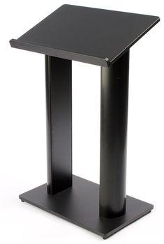 Podium for Floor with Double Column Design, MDF and Aluminum - Black
