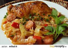 Kuřecí stehna na hlávkovém zelí recept - TopRecepty.cz No Salt Recipes, Roasted Chicken, Poultry, Food And Drink, Healthy Recipes, Treats, Cooking, Ethnic Recipes, Decor