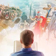 Mężczyzna czytający Księgę Objawienia wyobraża sobie bestię ijeźdźców Apokalipsy