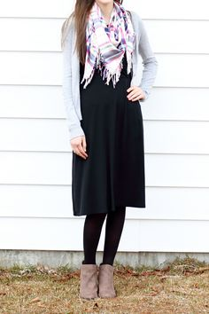 Modest Dressy/Casual Outfit Idea for Church//Little Black Dress//Blanket Scarf//Gray Cardigan//Ankle Boots//Tights//Fall/Winter Style Inspiration//Comfy//Classy//Feminine//Layered//Cute//Stylish//Fashionable #cardiganfall #dressyoutfits