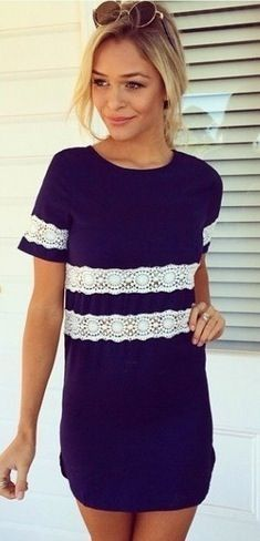 Navy and white lace shift