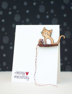 How-To: Kitty Cat Greeting Card kittycats Paper crafting - How to make a Kitty .How-To: Kitty Cat Greeting Card kittycats Paper crafting - How to make a Kitty Cat Greeting Card. Found on Makezine, posted Cat Crafts, Paper Crafts, Paper Paper, Wood Crafts, Arte Punch, Tarjetas Diy, Dog Cards, Animal Cards, Creative Cards