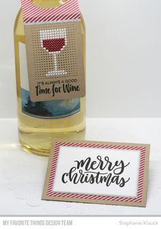 Hostess gift from Stephanie Klauck featuring products from My Favorite Things Stitching On Paper, Cross Stitching, Cross Stitch Embroidery, Christmas Crafts For Gifts, Christmas Gift Tags, Cross Stitch Designs, Cross Stitch Patterns, Wine Bottle Tags, Cross Stitch Cards