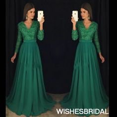 Wishesbridal Green Long Sleeve V Neck Sweep Train #Chiffon A Line #EveningDress Cwb0728