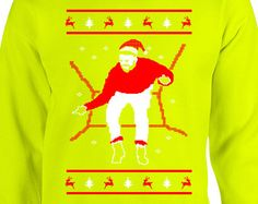 Safety Green Hotline Bling Christmas, Highligter Hotline Bling ugly Sweaters, Bright green ugly christmas sweater sweatshirts crewnecks xmas