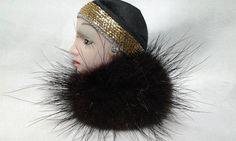 Vintage Art Deco Flapper Lady Scarf Black Fur Mink Shirt Coat Hat Brooch Pin #Unbranded