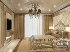 Integral and expressive image of Master bedroom consists of many charming details. Interior Designer Katrina Antonovich  offered a ref...