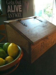 Bread Bin Box Rustic Farmhouse Look Reclaimed Timber Antique Style Hingers