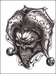 Urban Realistic Temporary Tattoo, Joker Skull & 8 Ball, Made in USA, Big Tattoos Skull Tattoo Design, Skull Tattoos, Body Art Tattoos, Sleeve Tattoos, Tattoo Designs, Bone Tattoos, Tatoos, Jester Tattoo, Clown Tattoo