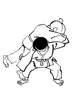 A colorier, une magnifique prise de Judo