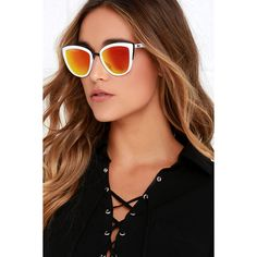 Quay My Girl White and Orange Sunglasses (205 RON) ❤ liked on Polyvore featuring accessories, eyewear, sunglasses, white, uv protection sunglasses, cat eye sunglasses, white lens sunglasses, orange glasses and mirrored lens sunglasses