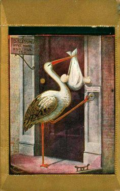 Vintage Stork at doorbell postcard Baby Stork, Stork Baby Showers, Baby Shower Cards, Baby Cards, Vintage Postcards, Vintage Images, Little Girl Illustrations, Vintage Illustration, Postcard Paper