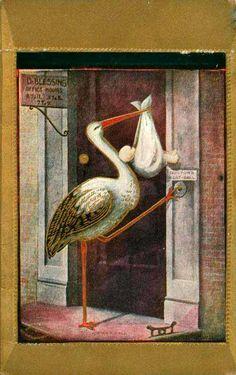 Vintage Stork at doorbell postcard