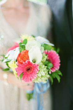 Mixed Bright Bouquet   On SMP: http://www.StyleMePretty.com/tri-state-weddings/2014/02/18/central-park-elopment/ Brklyn View Photography