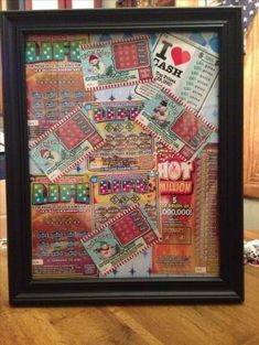 8 x 10 picture frame filled with Lotto Tickets! I did this instead of a Lotto tree for a Christmas present! Add a lucky penny- to scratch cards. Makes a great gift or raffle prize! Raffle Baskets, Gift Baskets, Fundraiser Baskets, Christmas Gift For Dad, Christmas Gifts, Christmas Giveaways, Family Christmas, Chinese Christmas, Chinese Auction