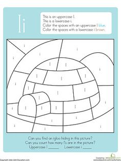 hidden color by letter printables - Igloo Pictures To Color