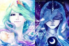 Celestia and Luna of My Little Pony, Friendship is Magic. Cadence and Shining Armor: human form by me done in photoshop Available as individual prints in various sizes: zeldacw. My Little Pony Fotos, Imagenes My Little Pony, My Little Pony Pictures, Mlp My Little Pony, My Little Pony Friendship, Princesa Celestia, Celestia And Luna, My Little Pony Princess, Princess Cadence