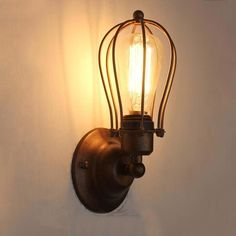 Black Cage LED Metal Vintage Retro Industrial Ceiling Wall Light Lamp  Fitting